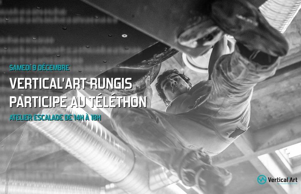 vertical'art Rungis / téléthon / grimpeur / salle d'escalade de bloc rungis / samedi 9 decembre / soirée / grimpe / bloc / restaurant / bar