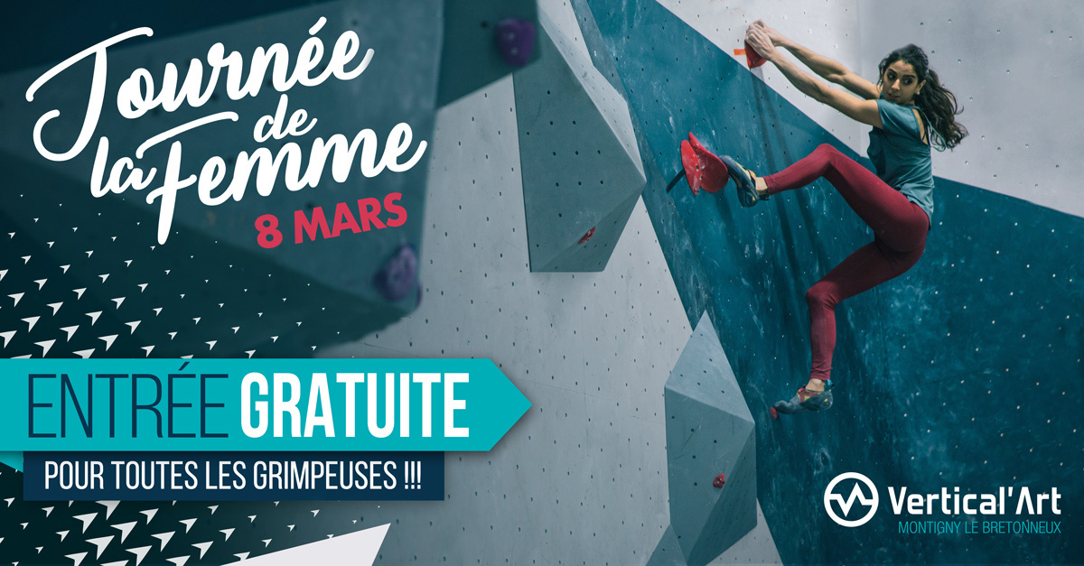 journée de la femmpe / 8 mars / entrée gratuite / grimpeuse / fanny gibert / mur d'escalade / salle d'escalade de bloc / bar / restaurant / prise d'escalade / vertical'art saint-Quentin-en-Yvelines / team vertical'art