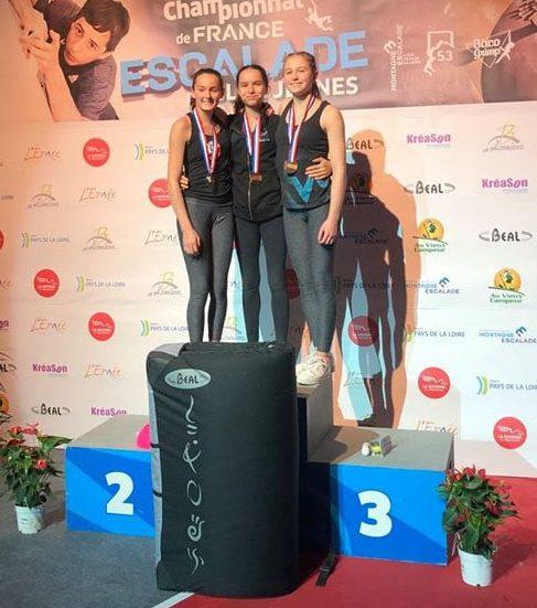 Podium Championnat de France Minime - 1 Oriane - 3 Marie -