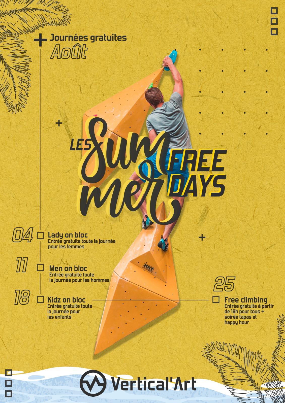 Summer Free Days Vertical'Art août 2021, l'été sera sportif dans vos salles d'escalade